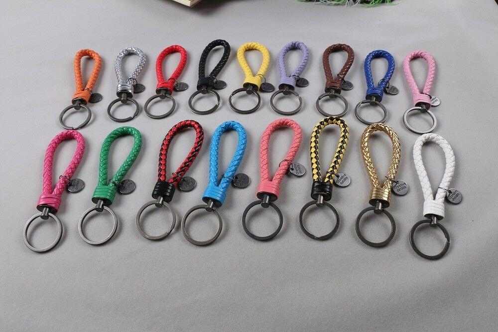 genuine leather braided key chain strap fob