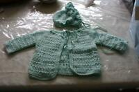 Crochet mint green baby sweater and hat