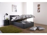 SINGLE LEATHER GAS LIFT STORAGE BED WITH QUALITY MATTRESS