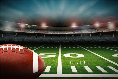 Football Field Background (American Football Ball Green Field 10x8FT Vinyl Studio Backdrop Photo)