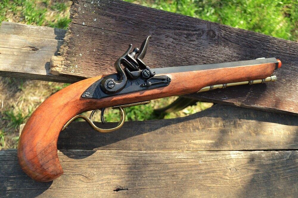 Kentucky Flintlock Pistol Colonial Revolutionary War Denix Replica Brass