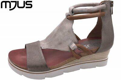 MJUS Damen Keilsandalette Grau-Metallic Schuhe Leder 866002 Grau Metallic-leder