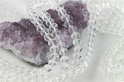 72 beads 8mm Chinese Crystal Glass Faceted Rondelle Clear Quartz