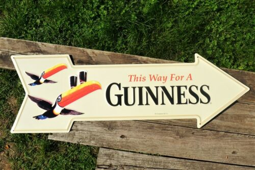 This Way to a Guinness Embossed Arrow Tin Sign - Dublin - Irish Dry Stout - Beer