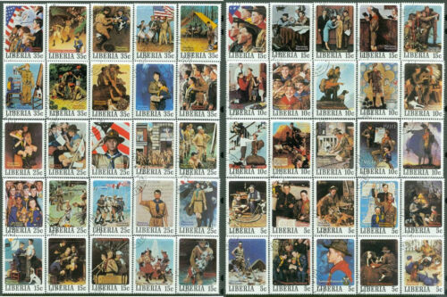 Norman Rockwell Boy Scout Painting Stamps Collection 50 Different Complete