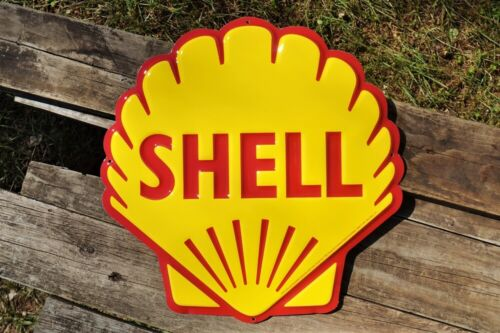 Shell Pecten Embossed Tin Metal Sign - Motor Oil & Gasoline - Gas Station