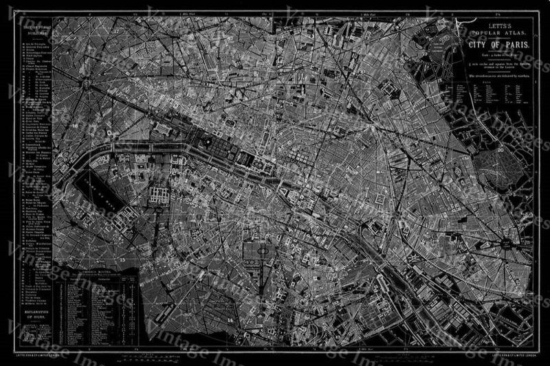 Historic 1883 PARIS FRANCE  CITY WALL MAP POSTER PRINT