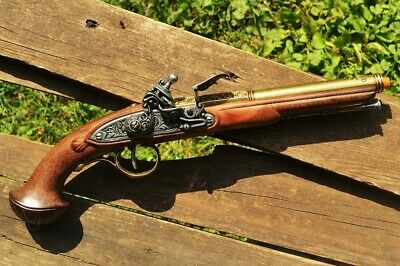18th Century Flintlock Pistol - Revolutionary War - Pirate - Brass Denix Replica