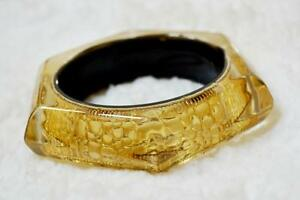Chunky Acrylic Gold Snakeskin Hexagon Bangle Bracelet!
