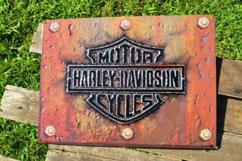 Harley Davidson H-D Made Plate Embossed Tin Metal Sign - Bar and Shield - Rivets