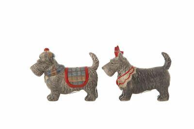 Ceramic Scotty Dog Salt & Pepper Shaker Set Scottish Terrier with Hat & Scarf