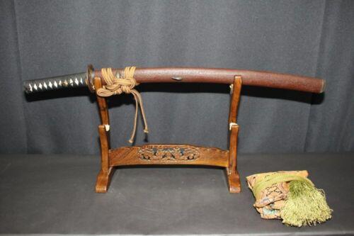 """(AK-65) WAKIZASHI Koshirae with KOZUKA, Tsuba """"MASAYOSHI sign"""" Edo"""