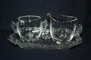 CRYSTAL SET SUGAR/CREAMER/TRAY WITH FAN SIDES