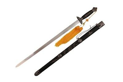Spring Steel Jian Tai Chi Kung Fu Martial Arts Sword Black Scabbard Brand New