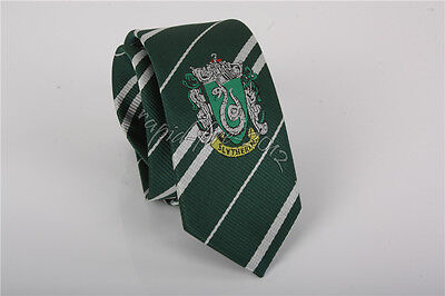 Harry Potter Slytherin Necktie With Logo Tie Halloween Xmas Gift