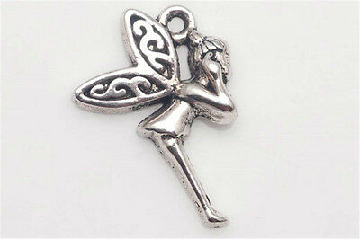 10/100PCS Tibetan silver Craft Jewelry Fairy elf Angel Wings DIY Charms Pendants