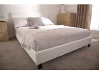 King size bed faux Leather Middle beam broken