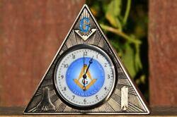 Masonic Square and Compasses Desk Clock - Office - Paperweight - Freemasons