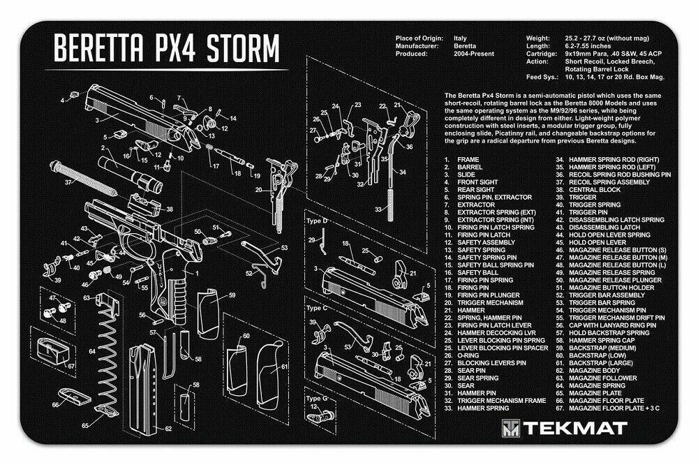 "TekMat Beretta PX4 Storm Premium Gun Cleaning Mat 11""x17"" Fa"