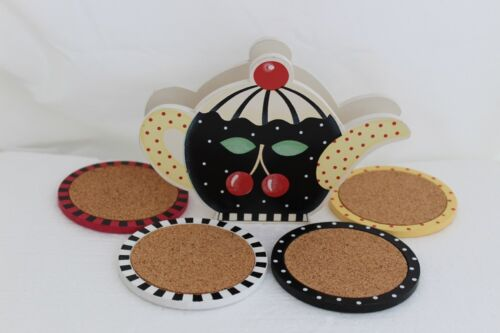 MARY ENGELBREIT Set of 4 Wooden Coasters with Wooden Teapot Holder - New in Box