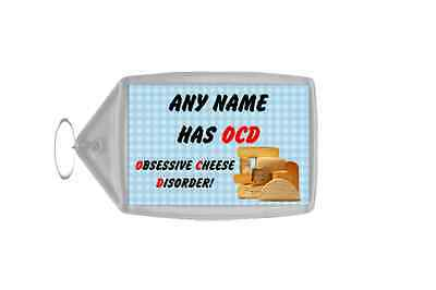 Funny Obsessive Disorder Cheese Blue Personalised Large Keyring
