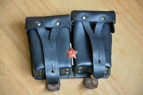 ✅🔥 Mosin Nagant 91/30 Leather Black Dual Ammo Pouch USSR Soviet Army 1955