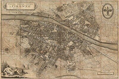 NICE HISTORIC 1847 Molini Map of Florence Frienze Italy ARNO RIVER piazzas