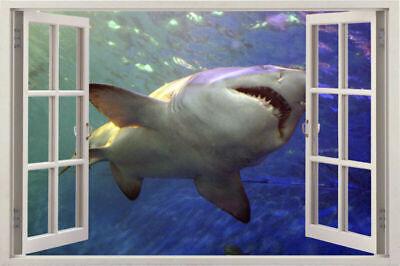 shark animal Window 3d View Removable Wall Sticker Decal Room decor Wallpaper