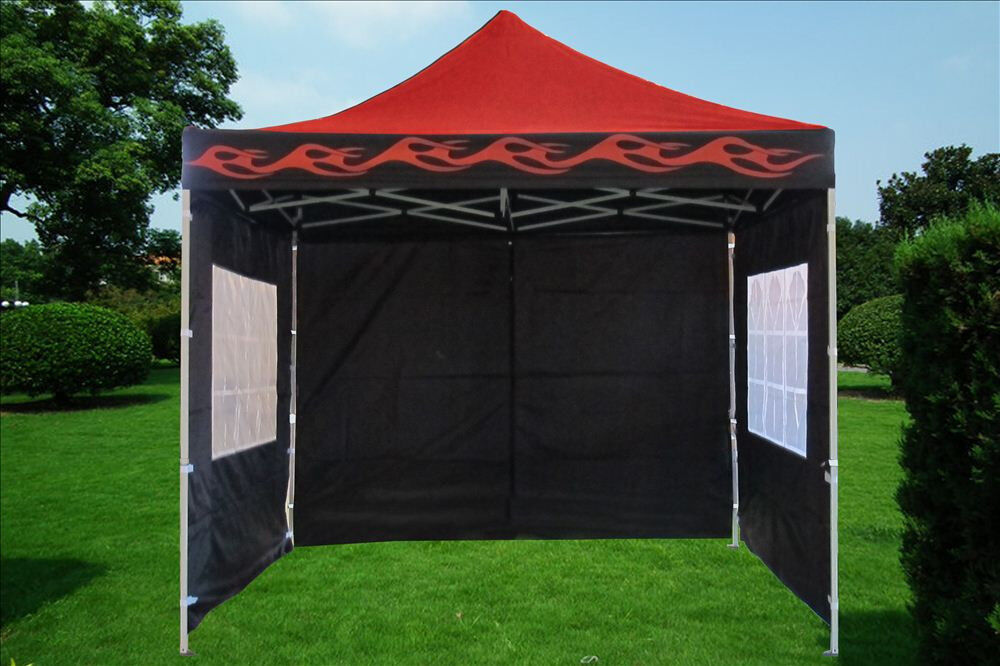 10 X 10 Pop Up Canopy Party Tent Gazebo Ez Red Flame