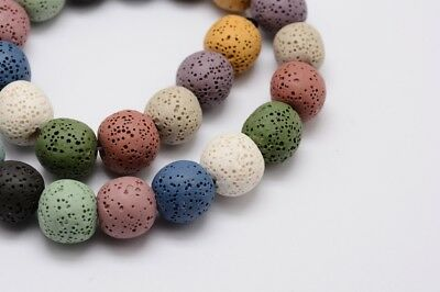 Mixed Coloured Dyed Lava 7-8mm Beads - Approx 50+ Beads Enhanced - P00106