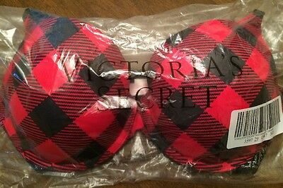 Victorias Secret PINK Wear Everywhere Push Up Bra Red Black Plaid Check 34D NEW