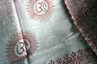 Soft Rayon Om Aum Prayer Shawl Altar Cloth Red & White from Nepal - NEW