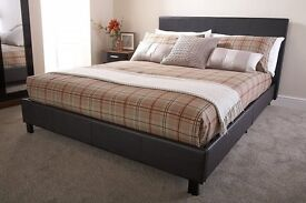 Bed In A Box 5ft King Size Brown Chocolate Bedstead Faux Leather