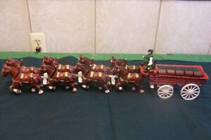 CAST IRON BEER WAGON WITH 8 CLYDESDALE HORES