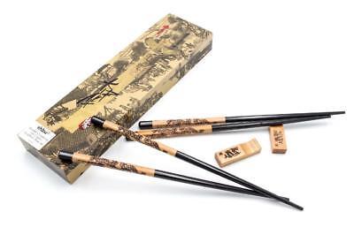 2 Paar Ess Stäbchen Sushi Chop Sticks schwarz mit Box und Halter Holz 23,5cm Stäbchen