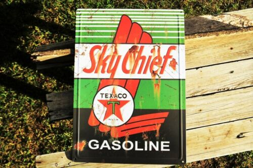 Texaco Sky Chief Embossed Tin Metal Sign - Gasoline Motor Oil - Star Gas Station