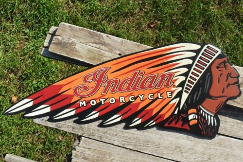 Indian Motorcycle Fully Embossed Retro Tin Metal Sign - Chief - Scout - Vintage