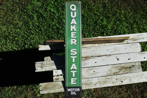 Quaker State Motor Oil Embossed Steel Metal Sign - Gasoline - Retro Gas Station