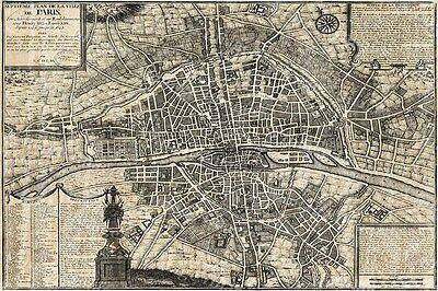 GIANT 1705 PLAN DE PARIS CITY WALL MAP OLD HISTORIC ANTIQUE STYLE FINE MAP PRINT