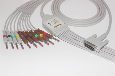 Compatible Hp Phillips One Piece 10 Leads Ecg Ekg Cable 15 Pins Banana 4.0 Iec