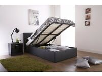 Black / Brown Brand New Single Ottoman Storage Bed Frame With Deep Quilt Mattress