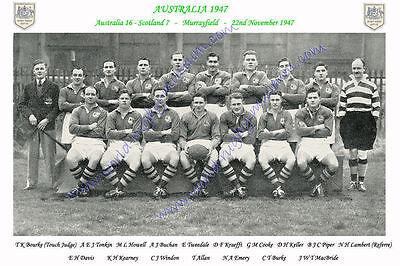 "AUSTRALIA 1947 (v Scotland) 12"" x 8"" RUGBY TEAM PHOTO PLAYERS NAMED"