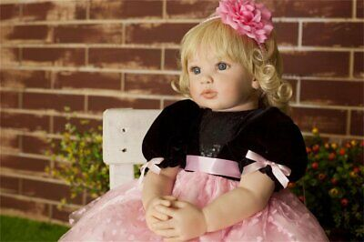 24''Handmade Soft Doll Silicone Lifelike Reborn Baby Doll Toddler Xmas Cute Gift