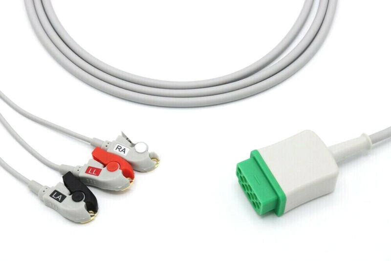 GE Marquette Dash PRO Tram 11 Pin 3 Leads Grabber ECG Cable - Same Day Shipping