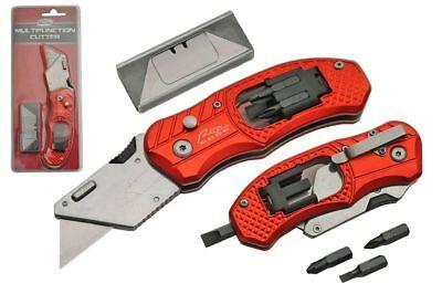 FOLDING POCKET KNIFE Heavy Duty Red Box Cutter Drywall Carpe