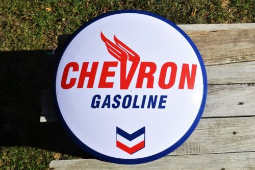 Chevron Gasoline Domed Tin Metal Sign - Standard Oil Co. - Button - Gas Station