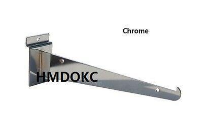25 Pcs Slatwall 12 Shelf Bracket Store Fixture Slat Wall Accessories Chrome