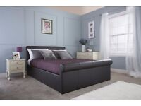 **CAROL BLACK or WHITE** Side Lift Ottoman Sleigh Bed Frame**