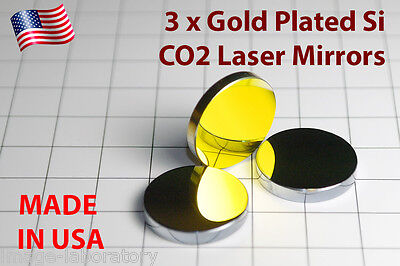 3x Made In Usa For Co2 Gold Plated Si Mirror 25mm 40w-150w Laser Cutter Engraver