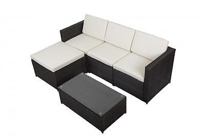 5PC Outdoor Patio Sofa Set Sectional Furniture PE Wicker Rattan Deck Couch Brown